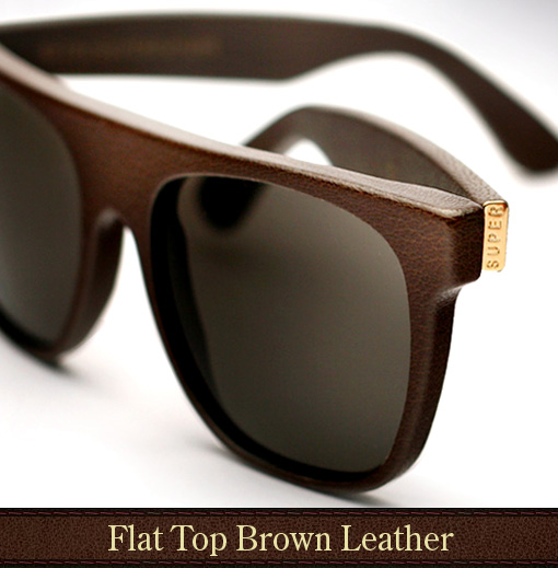Super Flat Top Brown Leather Sunglasses