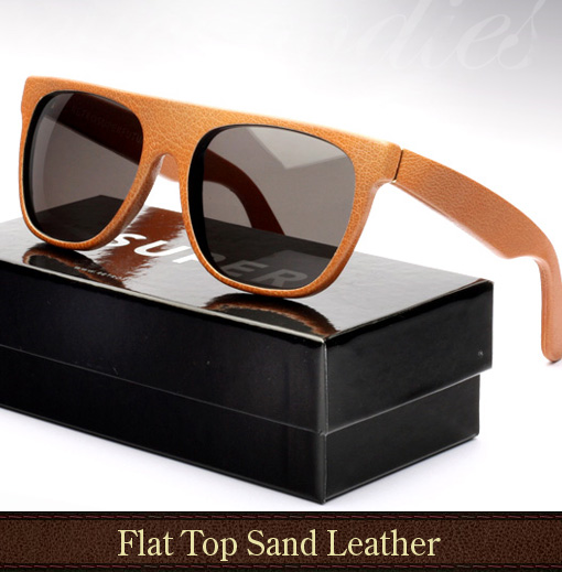 Super Flat Top Sand (beige) Leather Sunglasses