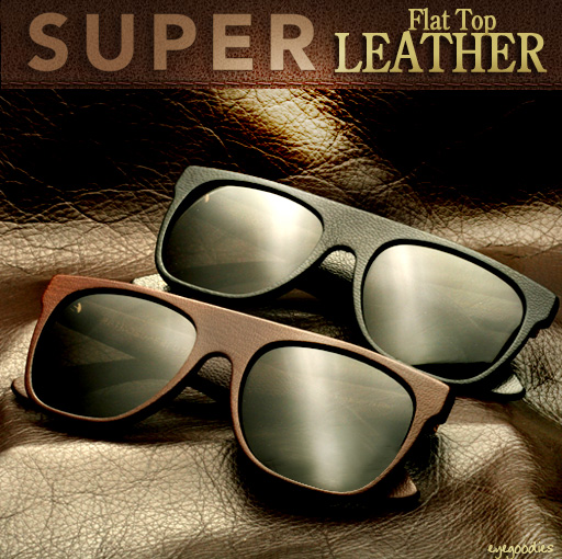 Super Flat Top Leather Sunglasses