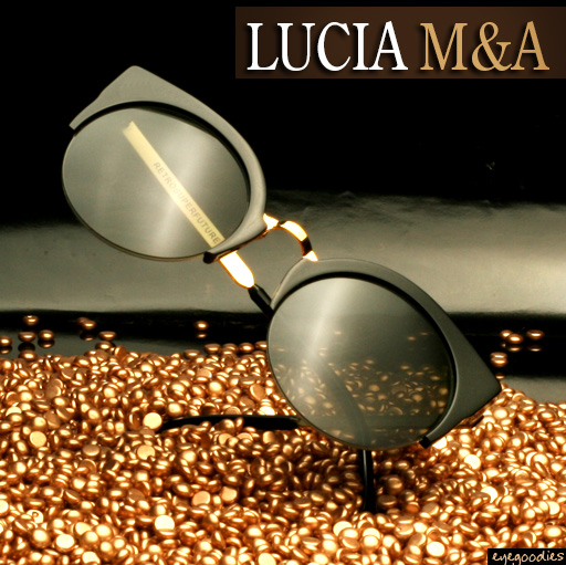 Super Lucia Black & Gold Metal Sunglasses