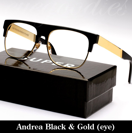 Super Andrea Black & Gold Francis Eyeglasses