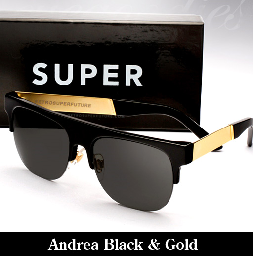 Super Andrea Black & Gold Francis Sunglasses