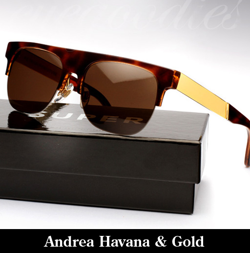 Super Andrea Havana & Gold Francis Sunglasses