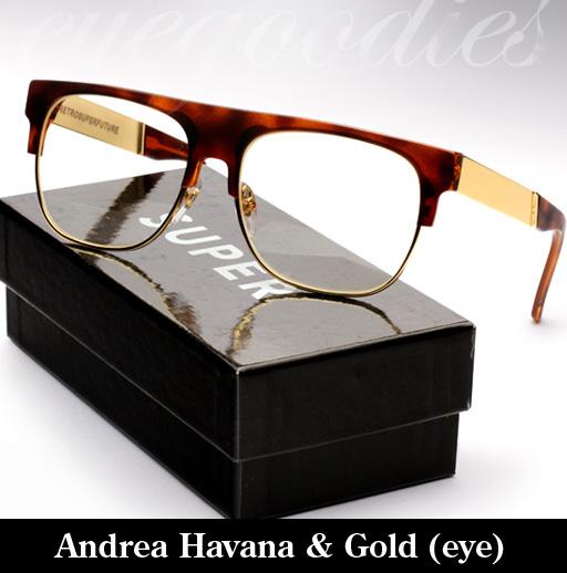 Super Andrea Havana & Gold Francis Eyeglasses