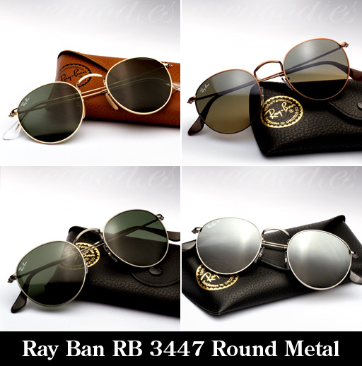 round sunglasses ray ban. Ray Ban RB 3447 Round Metal