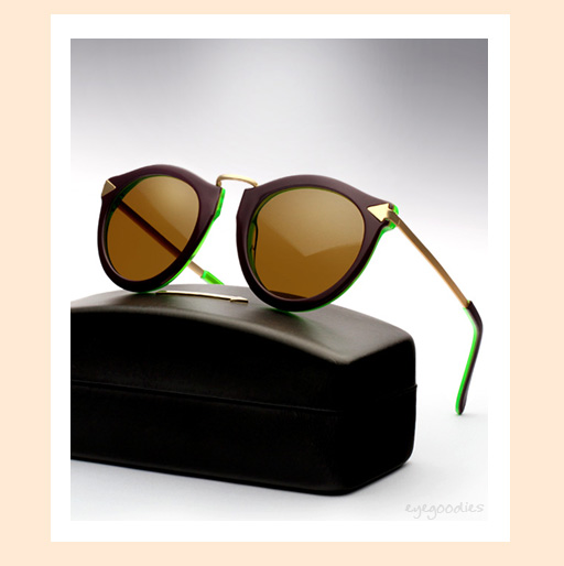 Karen Walker Harvest Sunglasses in Purple / Crystal Green