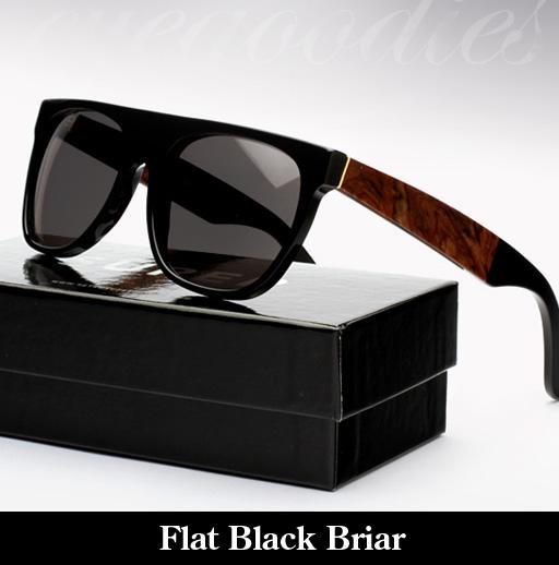 SUPER Flat Top Black Briar Sunglasses