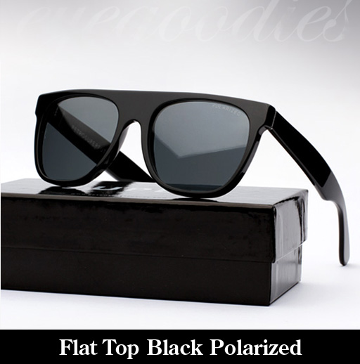 Super Flat Top Black Polarized Sunglasses