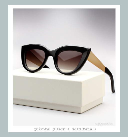 Ellery Quixote Sunglasses - Black &amp; Gold Metal
