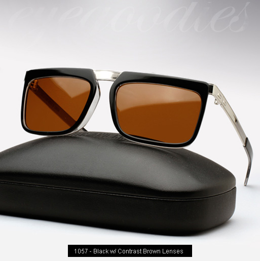Cutler and Gross 1057 sunglasses in Black with Contrast Brown Lenses
