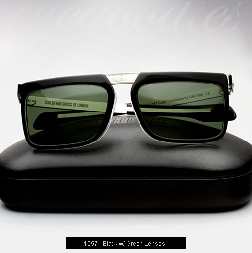 Cutler and Gross 1057 sunglasses in Black with Green Lenses