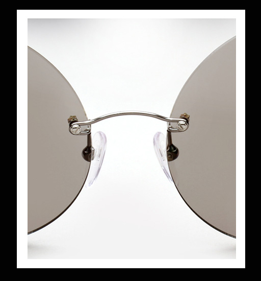Maison Martin Margiela Rimless Round Sunglasses - Light Grey