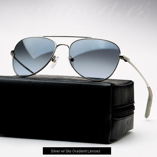 Mosley Tribes Mateo Sunglasses - Silver with Sky gradient lenses