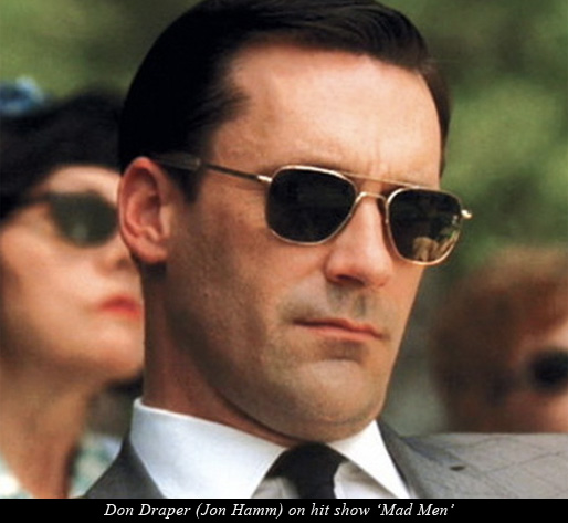 character Don Draper wearing the iconic frame on hit show Mad Men
