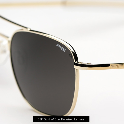 Randolph Engineering Aviator Sunglasses -23K Gold, Grey Polarized Lenses