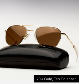 Randolph Engineering Aviator Sunglasses -23K Gold, Tan Polarized Lenses