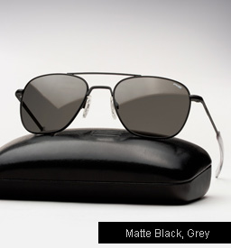 Randolph Engineering Aviator Sunglasses -Matte Black, Grey Lenses
