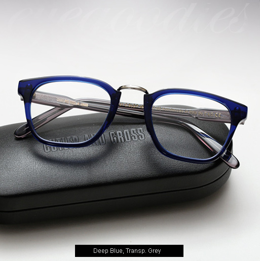 Cutler and Gross 1061 eyeglasses - Deep Blue, Transp. Grey Temples