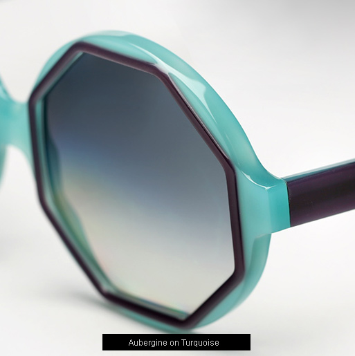 Cutler and Gross 1069 Sunglasses - Aubergine on Turquoise