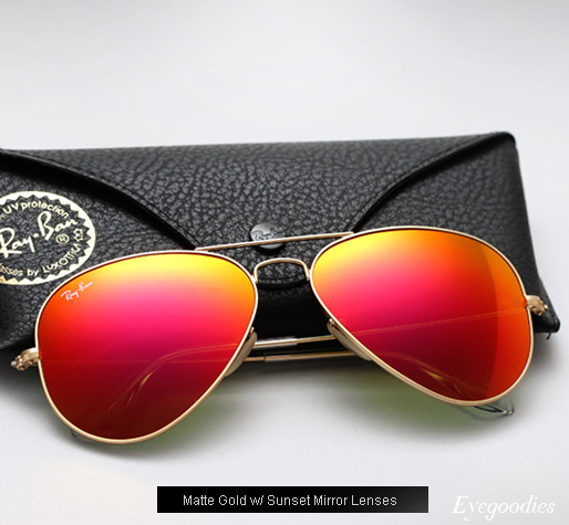 ray ban mirrored aviators  ray ban aviator rb 3025 colored mirror sunglasses sunset