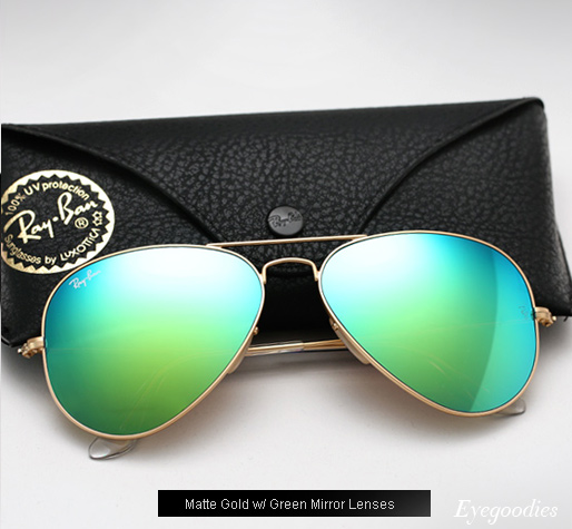 ray ban mirrored aviator  ray ban aviator rb 3025 colored mirror sunglasses green