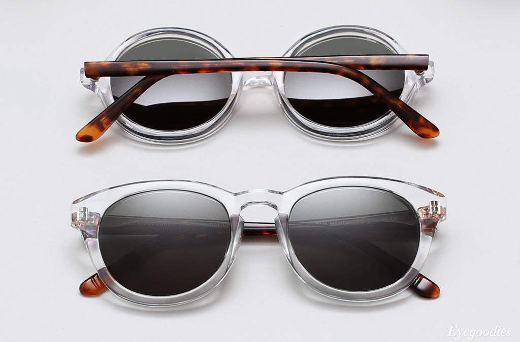 Han sunglasses, clear with tortoise temples colorway