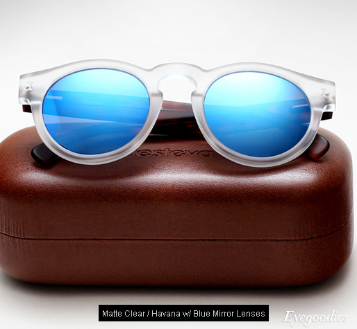 Illesteva Leonard sunglasses - Matte Clear/Havana with Blue Mirror Lenses