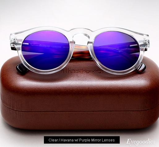 Illesteva Leonard sunglasses - Clear/Havana with Purple Mirror Lenses