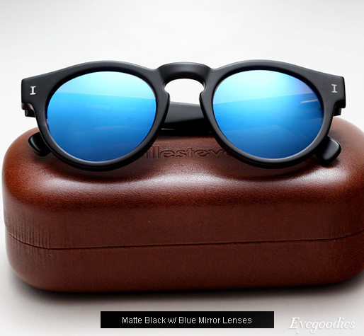 Illesteva Leonard sunglasses - Matte Black with Blue Mirror Lenses
