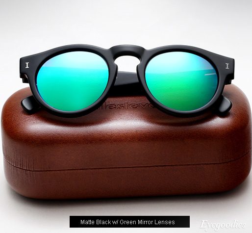 Illesteva Leonard sunglasses - Matte Black with Green Mirror Lenses