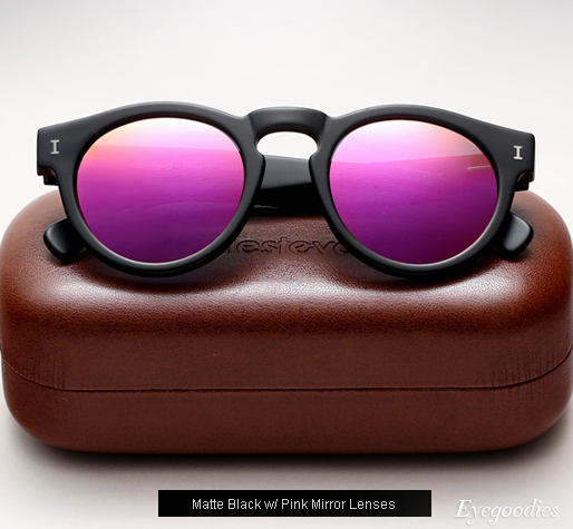 Illesteva Leonard sunglasses - Matte Black with Pink Mirror Lenses