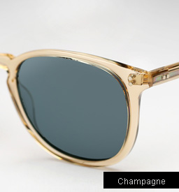 Garrett Leight Kinney Sunglasses - Champagne w/ Blue Polarized