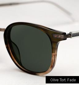 Garrett Leight Venezia Sunglasses in Olive Tortoise Fade