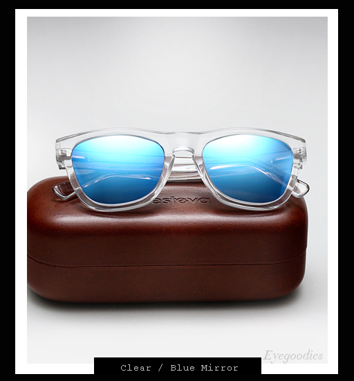Illesteva x Lou Reed Waverly Sunglasses - Clear / Blue Mirror
