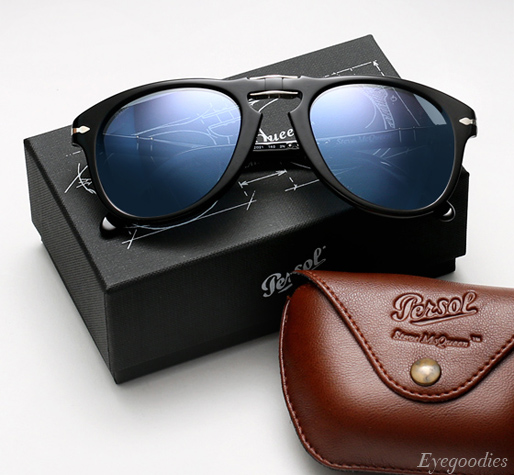 Persol 714 SM sunglasses - Black w/ Blue Lenses