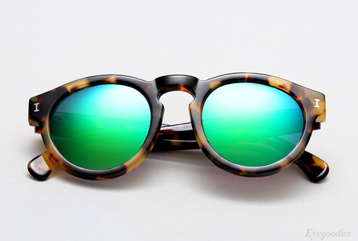 Illesteva Leonard sunglasses - Tortoise with Aqua Green Mirror
