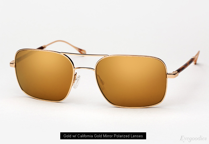 Oliver Peoples West De Oro sunglasses - Gold w/ California Gold Mirror Polarized lenses