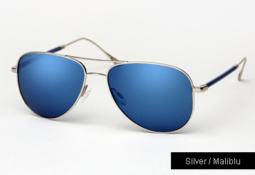 Oliver Peoples West Piedra sunglasses - Silver w/ Maliblu Mirror Polarized lenses