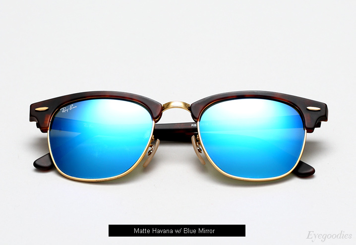 ray ban mirrored clubmaster sunglasses  ray ban clubmaster rb 3016 sunglasses matte havana / blue mirror