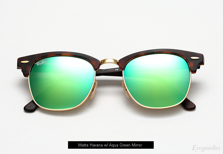 ray ban clubmaster sunglasses colors  ray ban clubmaster rb 3016 sunglasses matte havana / aqua mirror