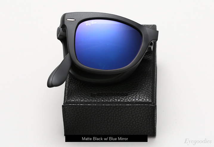 Ray Ban Folding Wayfarer RB 4105 sunglasses - Matte Black w/ Blue Mirror