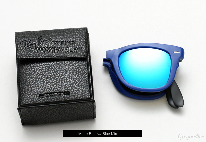 ray ban wayfarer mirror  ray ban folding wayfarer rb 4105 sunglasses matte blue w/ blue mirror