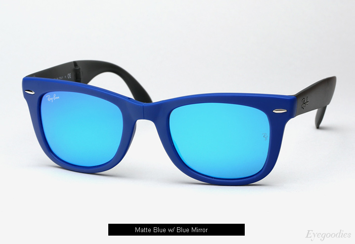 ray ban wayfarer sunglasses colors  ray ban folding wayfarer rb 4105 sunglasses matte blue w/ blue mirror