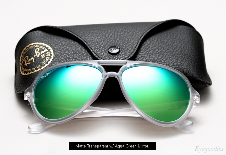 Ray Ban RB 4125 sunglasses - Matte Transparent w/ Aqua Green mirror