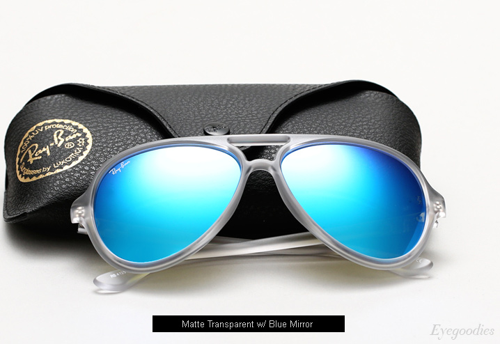 ray ban sunglasses mirror  ray ban rb 4125 sunglasses matte transparent w/ blue mirror