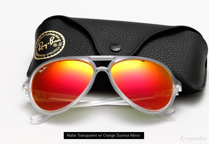 Ray Ban RB 4125 sunglasses - Matte Transparent w/ Orange Sunrise mirror