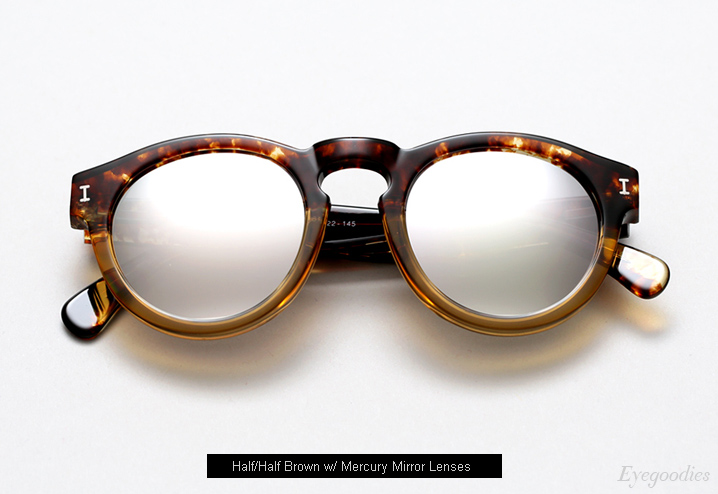 Illesteva Leonard sunglasses - Half/Half Brown w/ Mercury Mirror