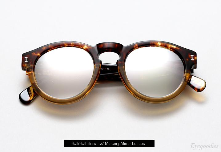 Illesteva Leonard sunglasses - Half/Half Brown w/ Mercury Mirror