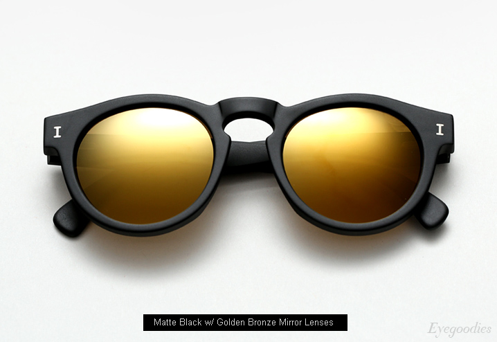 Illesteva Leonard sunglasses - Matte Black w/ Golden Bronze Mirror