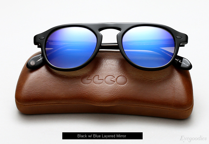 Garrett Leight Harding sunglasses - Black w/ Blue Layered Mirror
